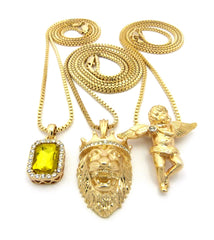 Gold Plated Flute Playing Angel, Iced Out Yellow Gem and King Leo Lion