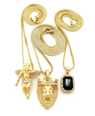 3 Chain Set: Cherub Angel with King Leo Lion and Black Onyx Gemstone