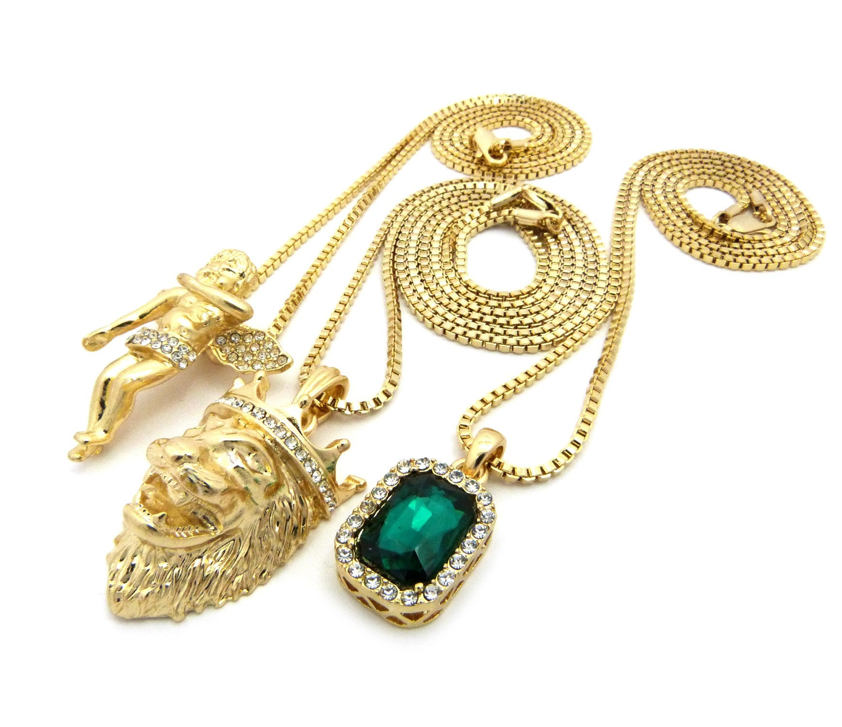 3 Chain Set: Cherub Angel with King Leo Lion and Emerald Green Gemstone