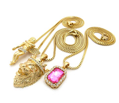 3 Chain Set: Cherub Angel with King Leo Lion and Pink Gemstone