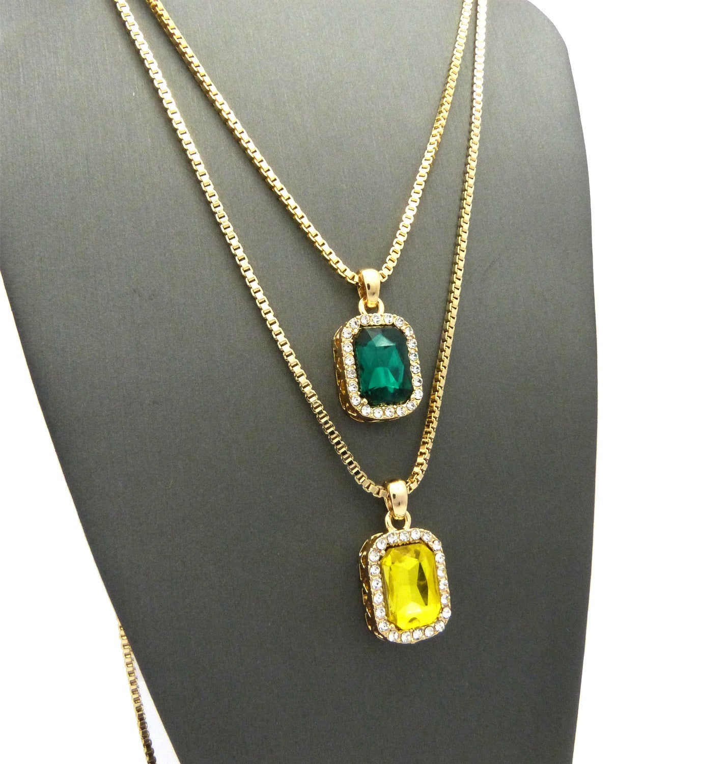 Iced Out Green and Yellow Gem