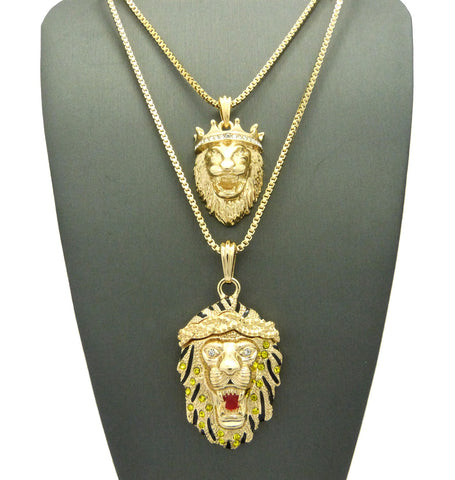 14k Gold Plated King Leo Lion and Iced Out King of The Jungle Lion