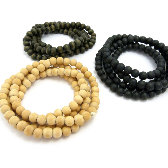 3 Necklace Set: Tan Olive Green and Black Beaded Necklaces