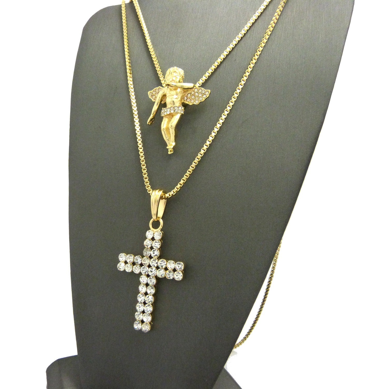 2 Chain Set: Iced Out Cherub Angel with a Double Ice Cross