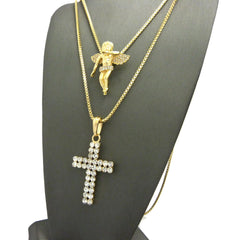 2 Chain Set: Icey Cherub Angel with a Double Ice Cross