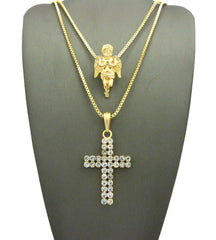 2 Chain Set: Praying Angel with a Double Ice Cross