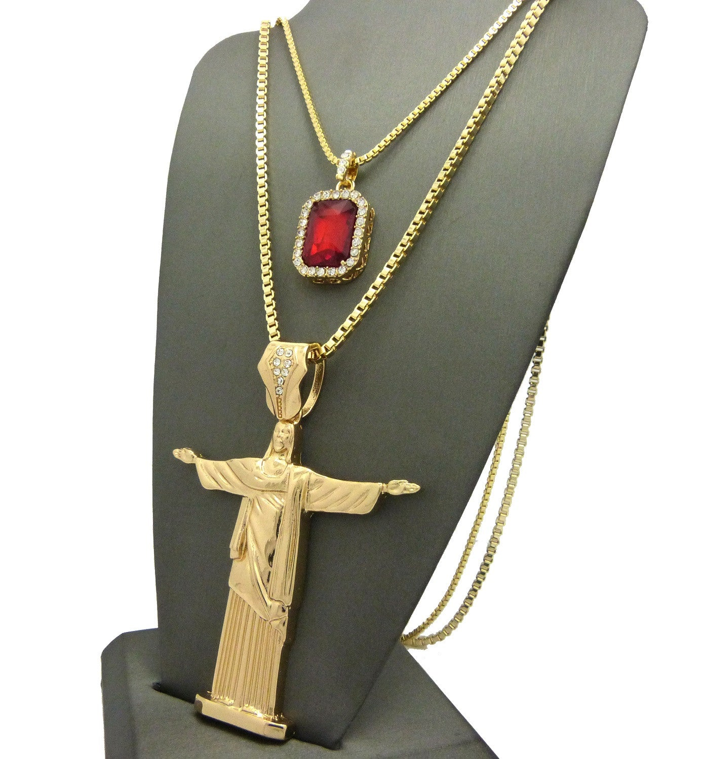 2 Chain Set: Red Ruby with a Gold Standing Jesus Piece