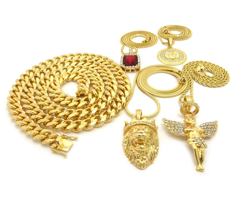 18k Gold Plated 5 Chain Combo Cuban Jesus,Medusa, Halo Angel And Ruby