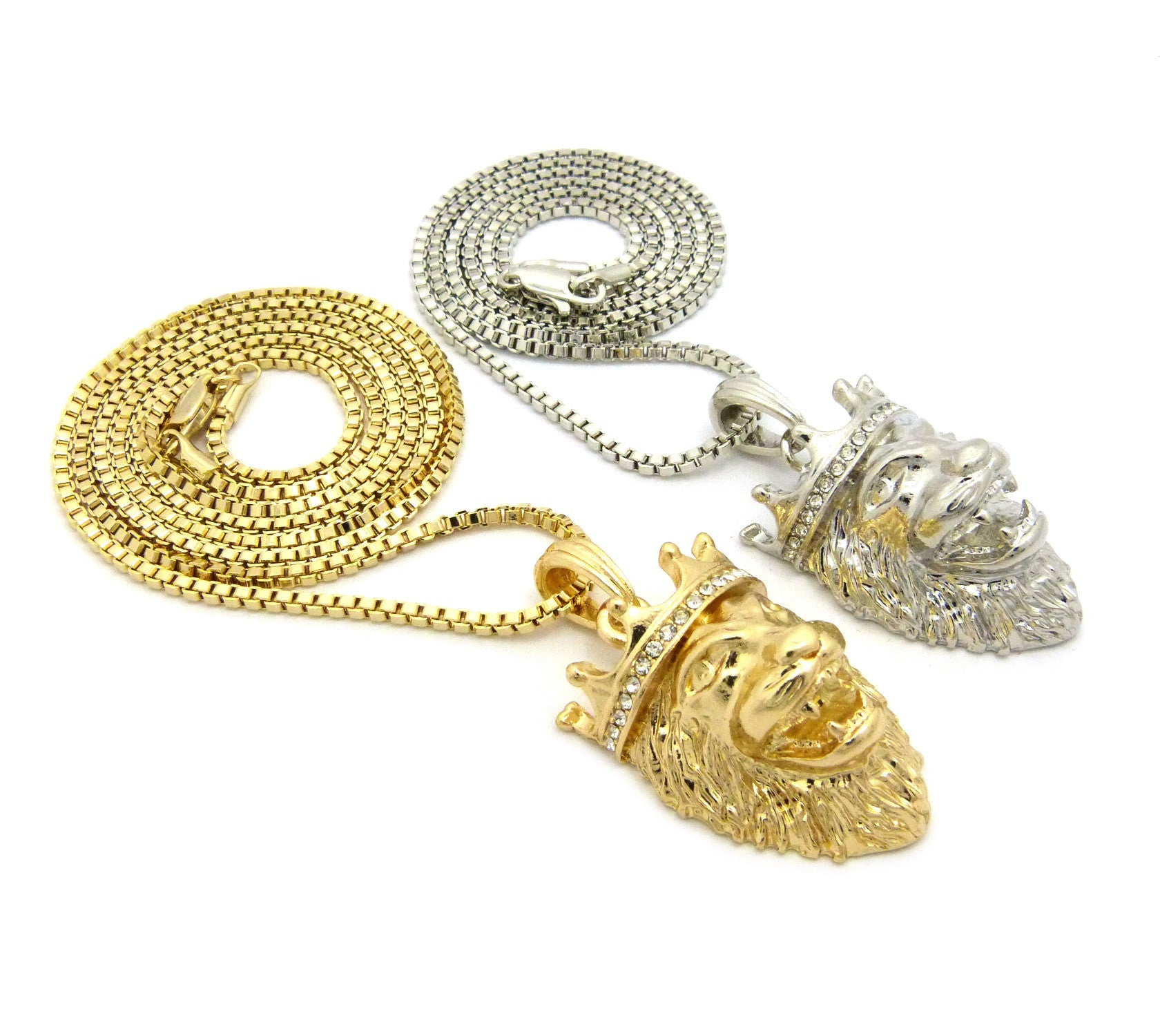 2 Chain Set: White And Yellow King Leo Lion Head 24 And 30 Inches