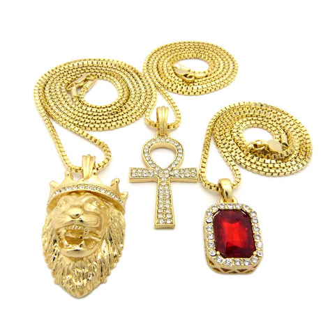 3 Chain Set: King Leo Iced Out Ank And Red Gem