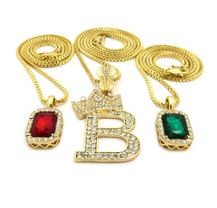 3 Chain Set: King B Red Gem And Green Gem With Box Chain