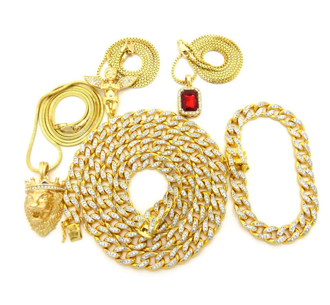 18K Gold Plated Iced Out Miami Cuban 4 Chain 1 Bracelet