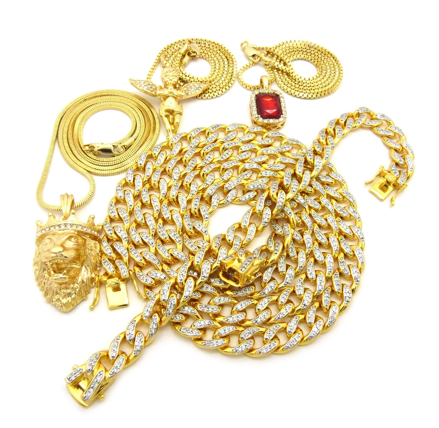 18K Gold Plated Icey  Miami Cuban 4 Chain 1 Bracelet