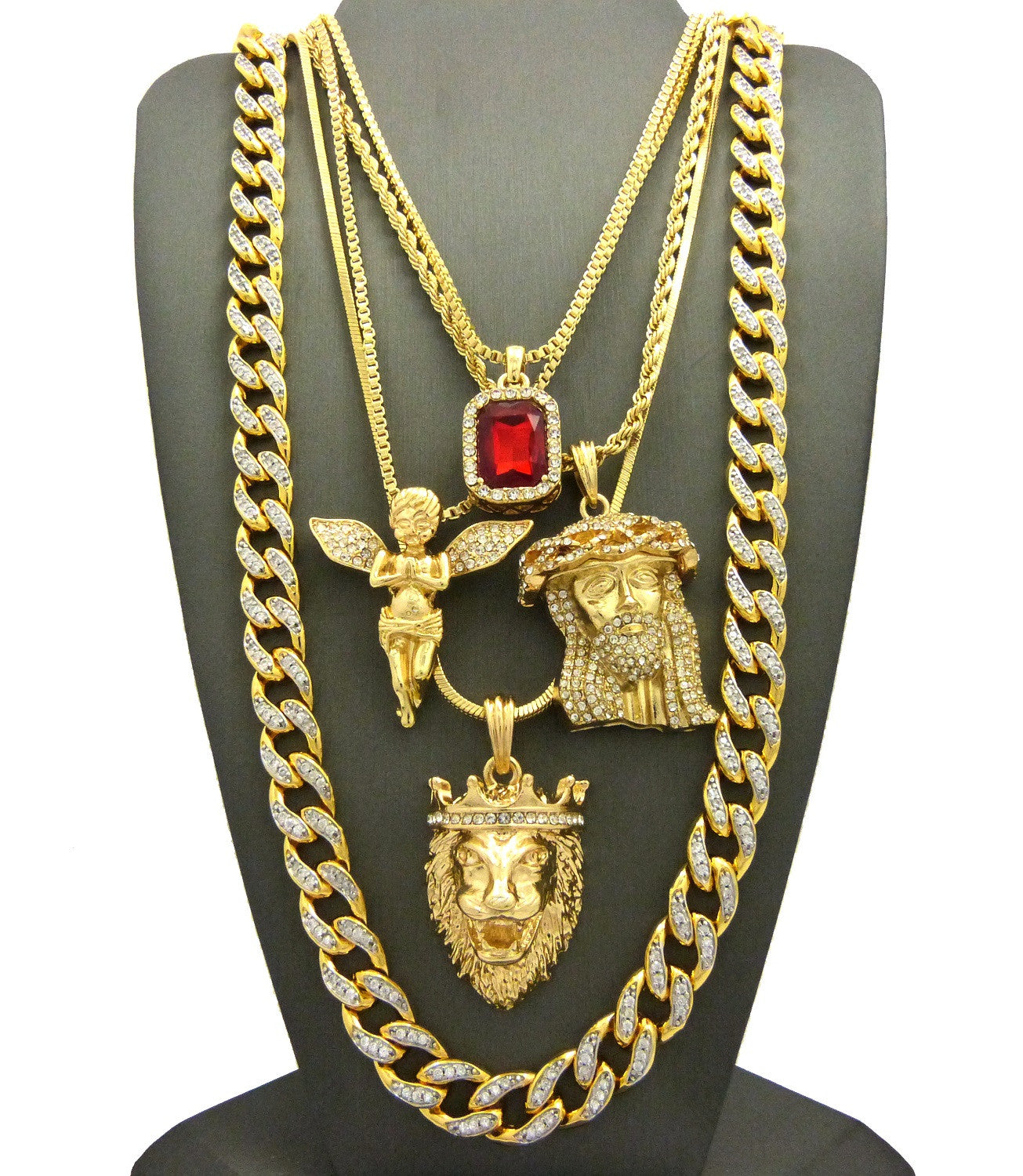 5 Chain Set: 18K Gold Plated Iced Out Cuban Angel Ruby Jesus