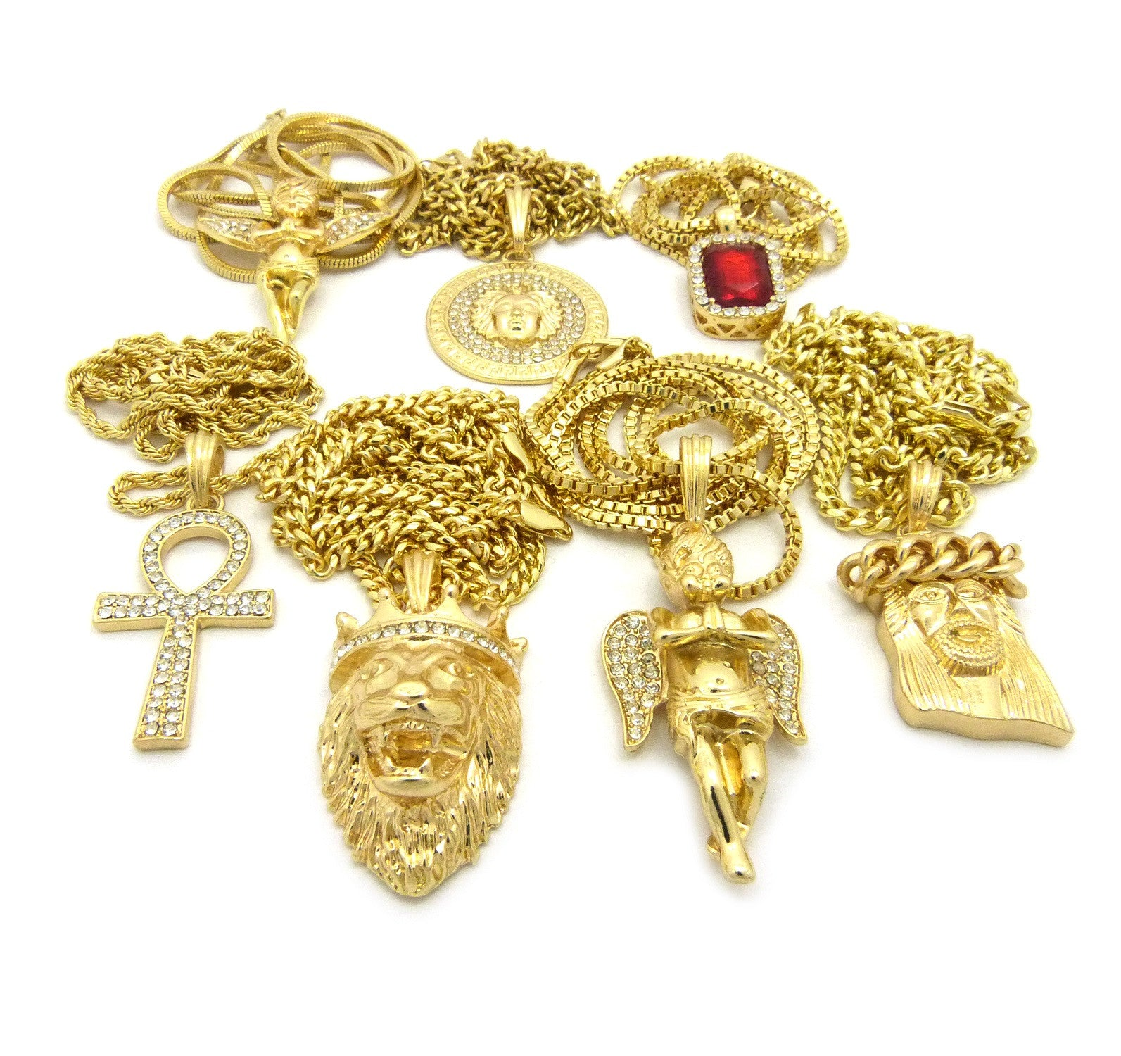 18K Gold Plated 7 Chain Combo Medusa Angel Lion Ankh Ruby And, Cuban Crown Jesus