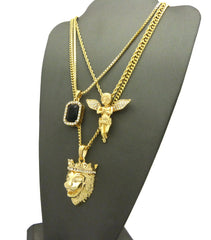 3 Chain Set: King Leo Lion Black Gem And Praying Angel With Iced Out Wings