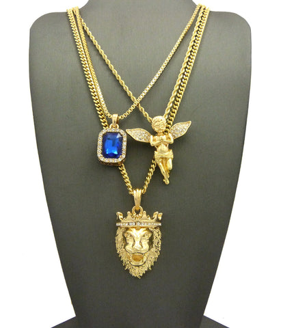 3 Chain Set: King Leo Lion Ruby Blue Gem and Praying Angel With Iced Out Wings