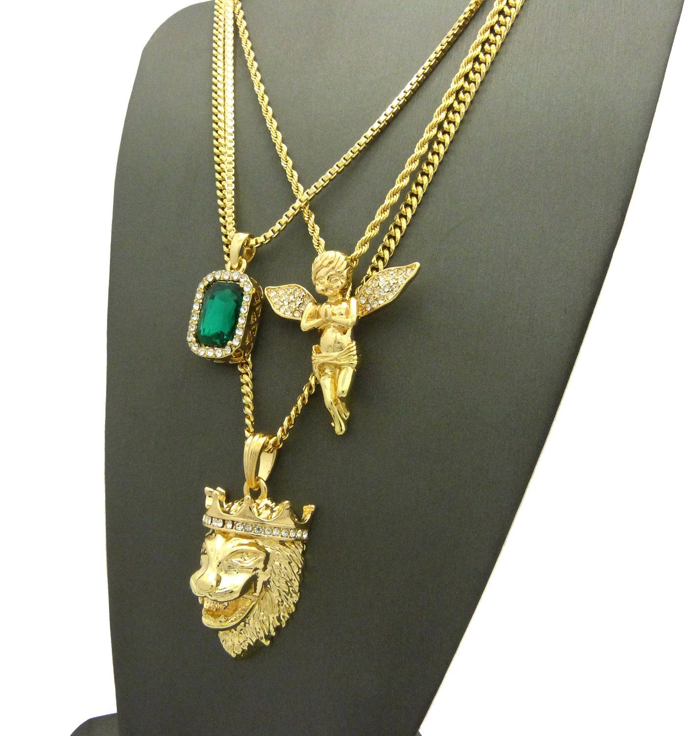 3 Chain Set: King Leo Lion Emerald Green Gem Stone and Praying Angel With Iced Out Wings