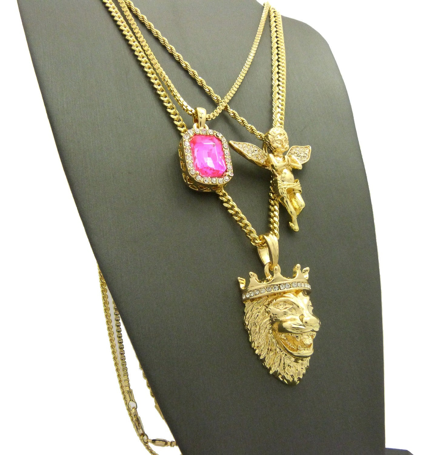3 Chain Set: King Leo Lion Pink Gem Stone and Praying Angel With Iced Out Wings