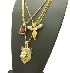 3 Chain Set: King Leo Lion Maroon Red Gem Stone and Praying Angel With Iced Out Wings