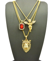 3 Chain Set: King Leo Lion Ruby Red Gem Stone and Praying Angel With Iced Out Wings