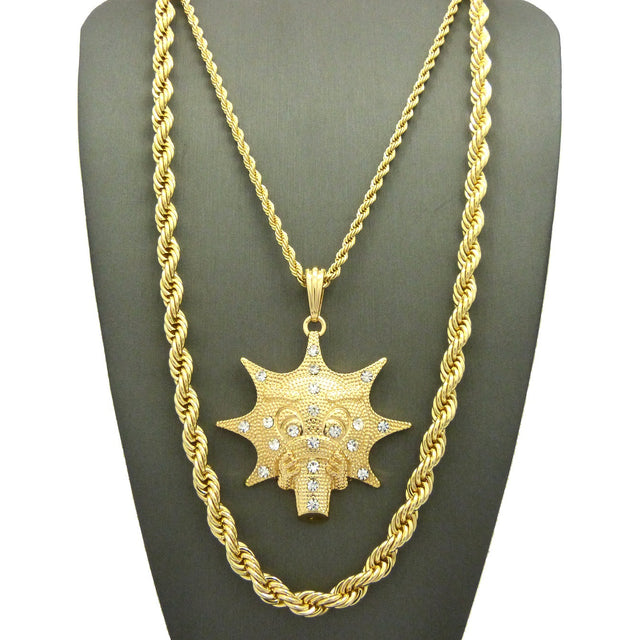 2 Chain Set: Iced Out Glo Man With A Thick Rope Chain