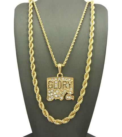 2 Chain Set: Iced Out Glory Boyz Pendant With A Thick Rope Chain
