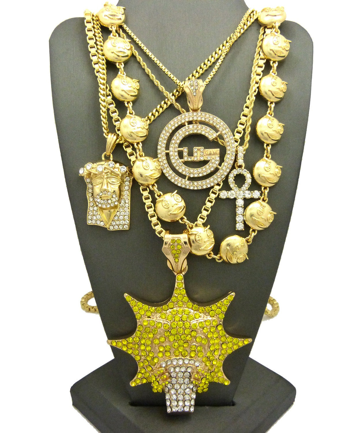 24k 5 Chain Set: Supper Iced Out Glo Man, Glo Rosary, Iced Out Jesus Piece, Big G, and Ankh Chain