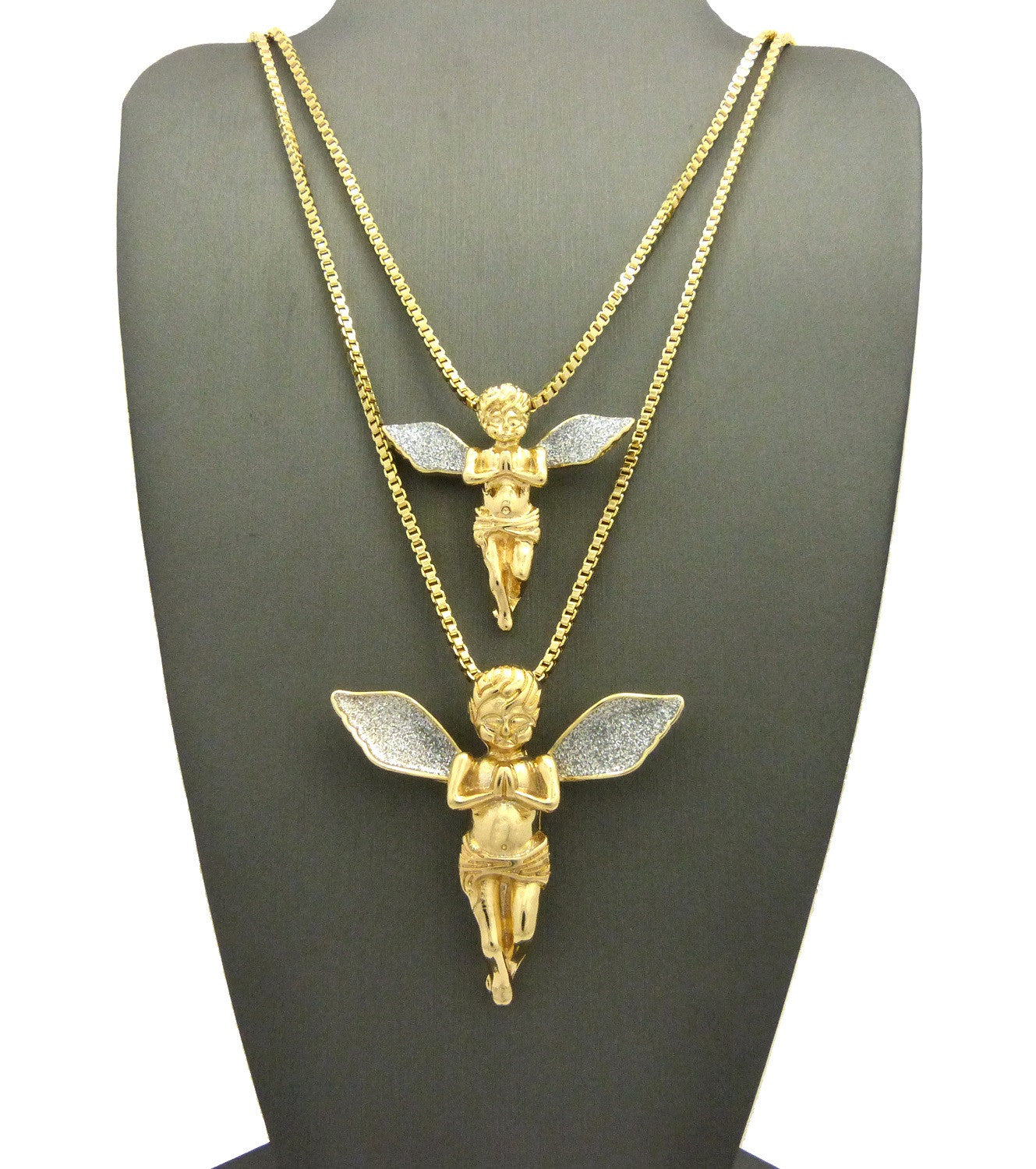 2 Chain Set: Praying Angels With Blue Ice Wings