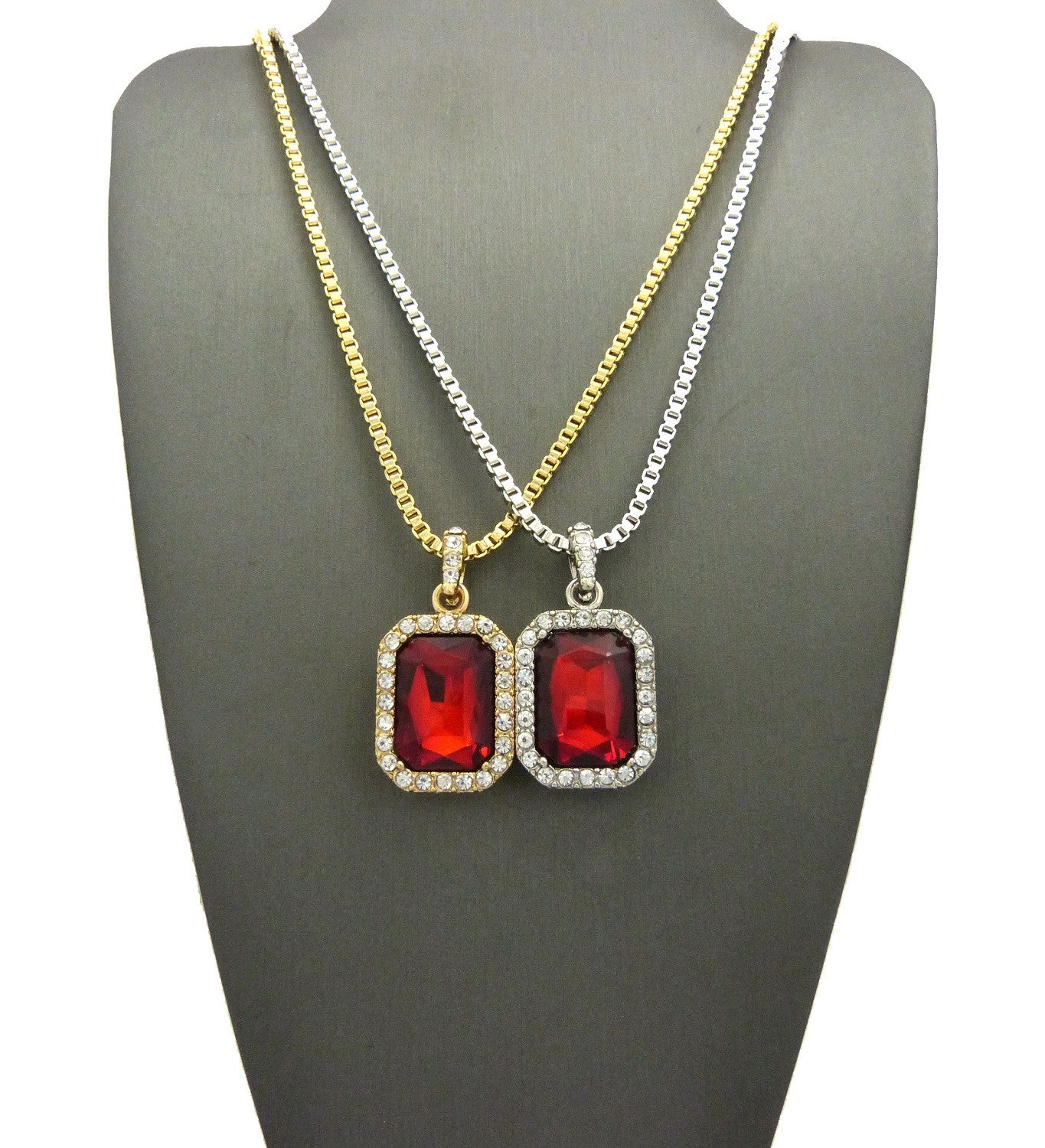 2 Chain Set: Silver and Gold Iced Out Ruby Red Gems