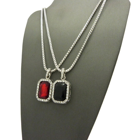 2 Chain Set: Silver Iced Out Ruby Red and Black Gems