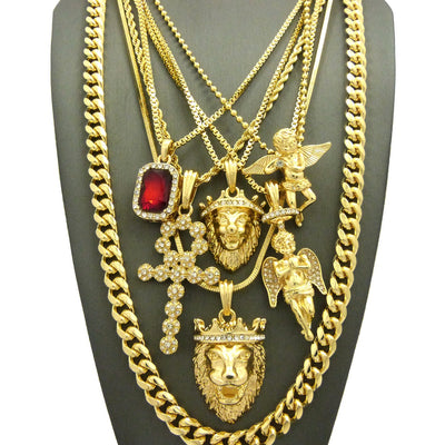 7 Chain Cuban Combo Iced Out Ank Lil Leo King Leo