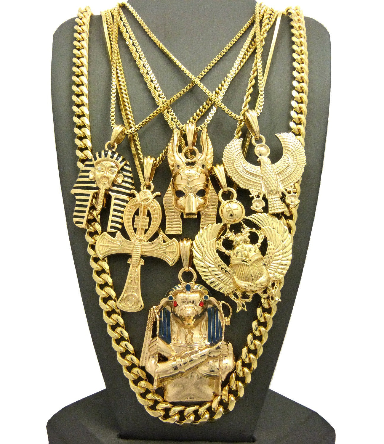 7 Chain Cuban Egyptian Gods Set