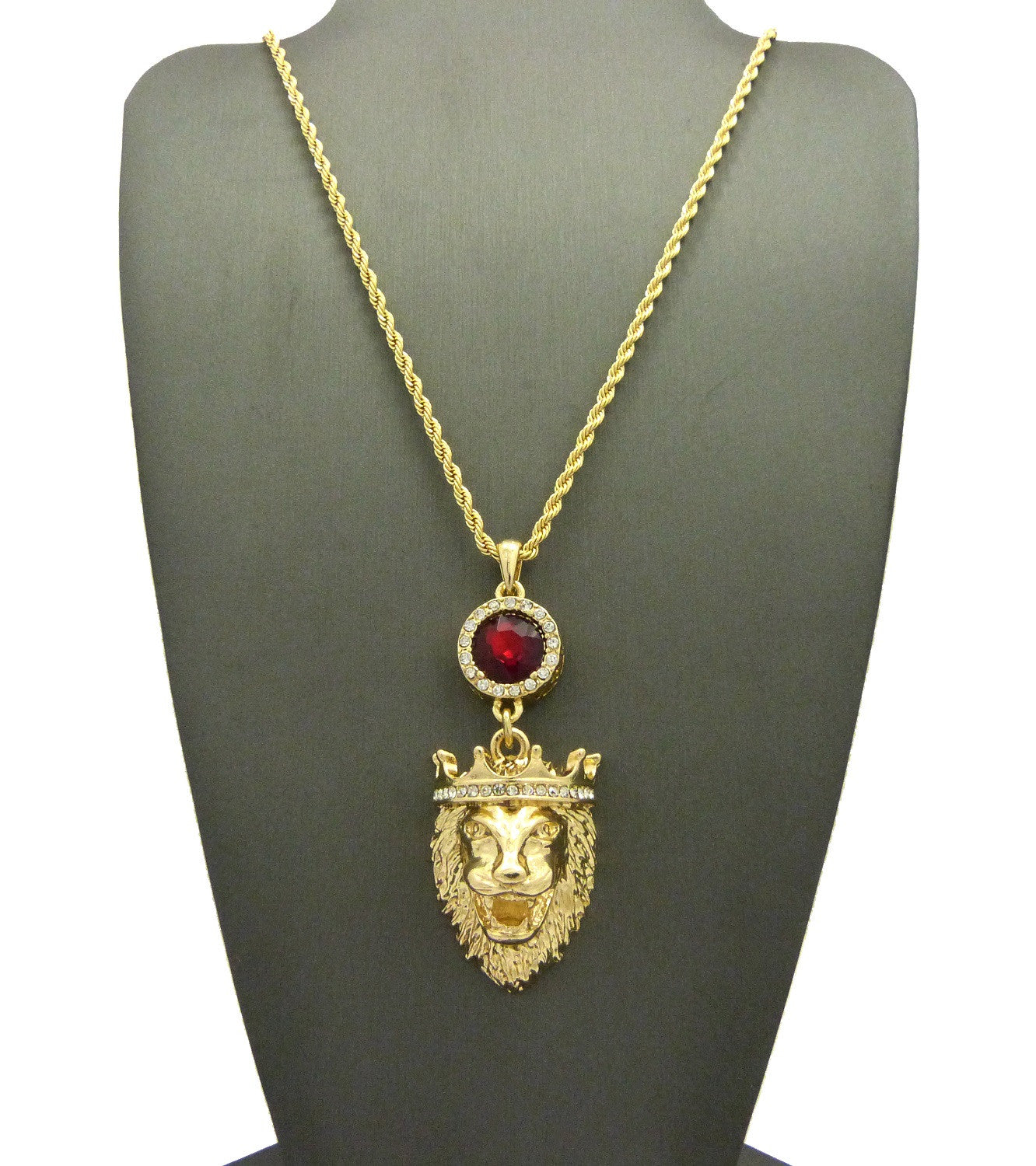 14k Gold Plated King Leo Lion Attached To a Ruby Red Gem