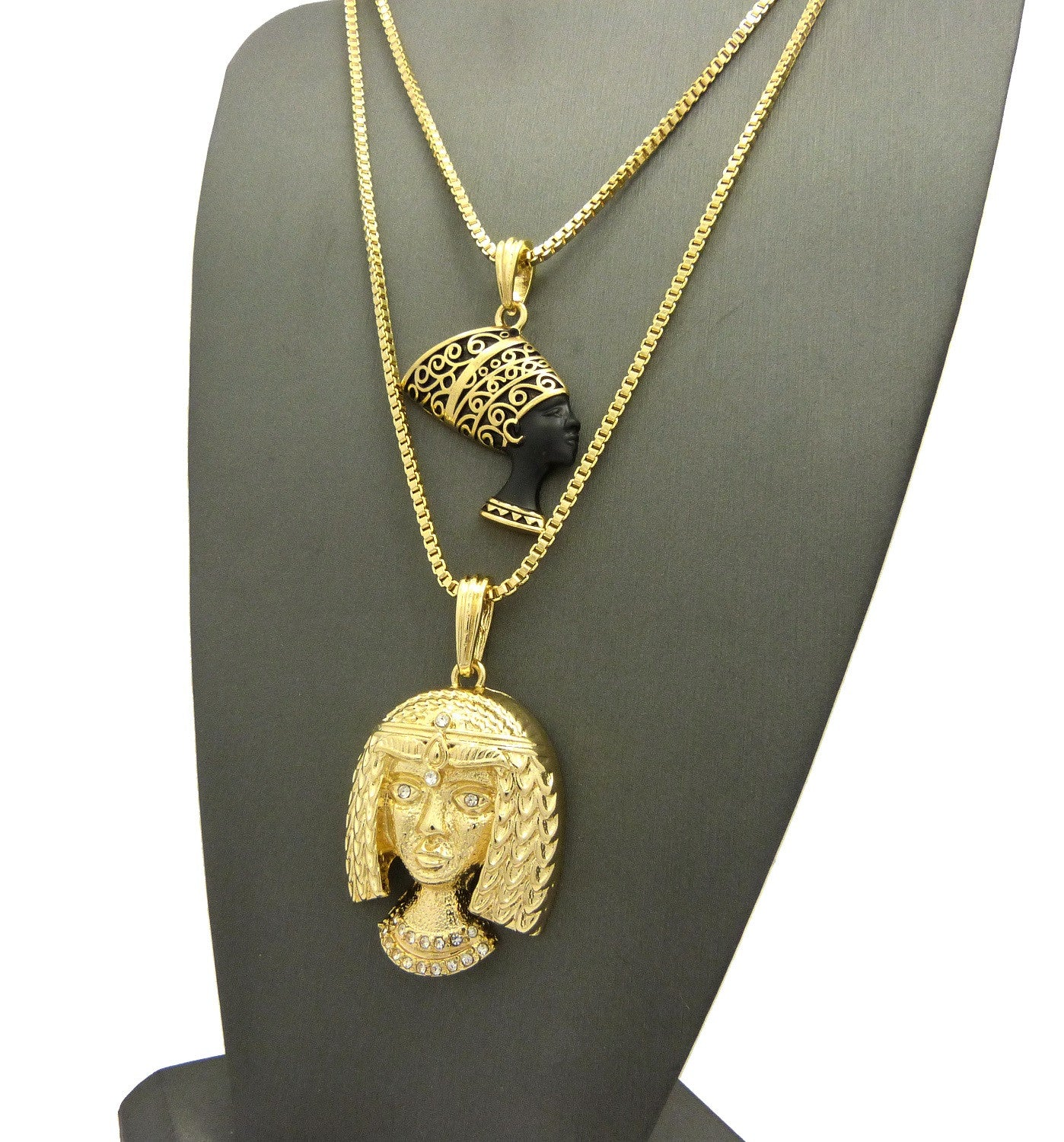 2 Chain Set: 18k Gold Plated Nefertiti and Cleopatra