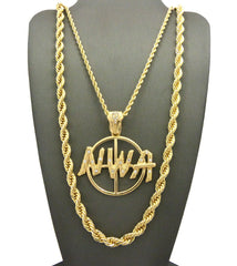 2 Chain Set: NWA Pendant With Thick Rope Chain