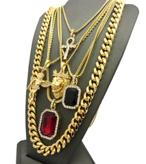 6 Chain Set: Red Ruby Black Gem Ank King Leo Angel Cuban