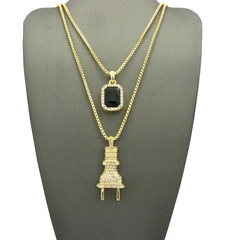 "2 Chain Set: Iced Out ""I'm The Plug"" Chain with Black Gem"