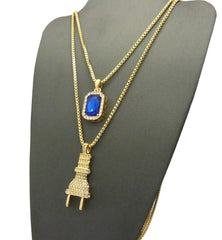 "2 Chain Set: Iced Out ""I'm The Plug"" Chain with Sapphire Blue Gem"