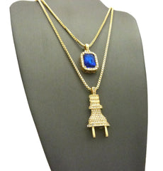 "2 Chain Set: Icey ""I'm The Plug"" Chain with Sapphire Blue Gem"