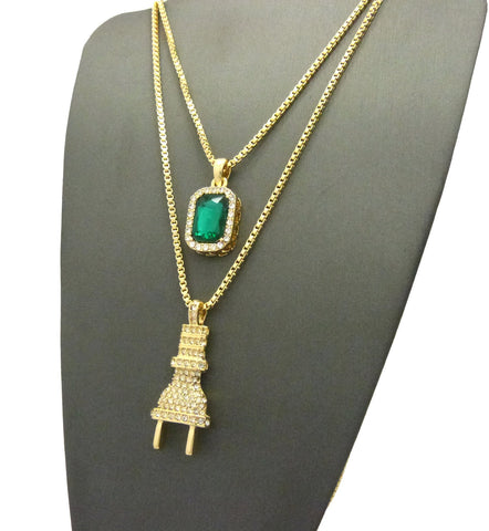 "2 Chain Set: Iced Out ""I'm The Plug"" Chain with Emerald Green Gem"