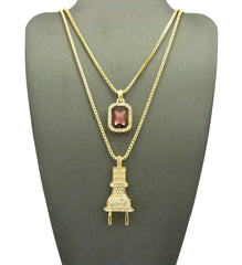 "2 Chain Set: Iced Out ""I'm The Plug"" Chain With Maroon Gem"