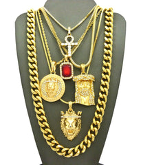 6 Chain Combo Iced Out Mini Leo Medalion Ruby Ank King Leo And Jesus