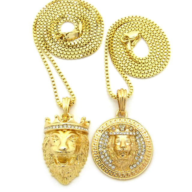 2 Chain Set: Iced Out King Leo Lion Head and King Leo Pendant