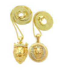 2 Chain Set: Icey King Leo Lion Head and King Leo Pendant