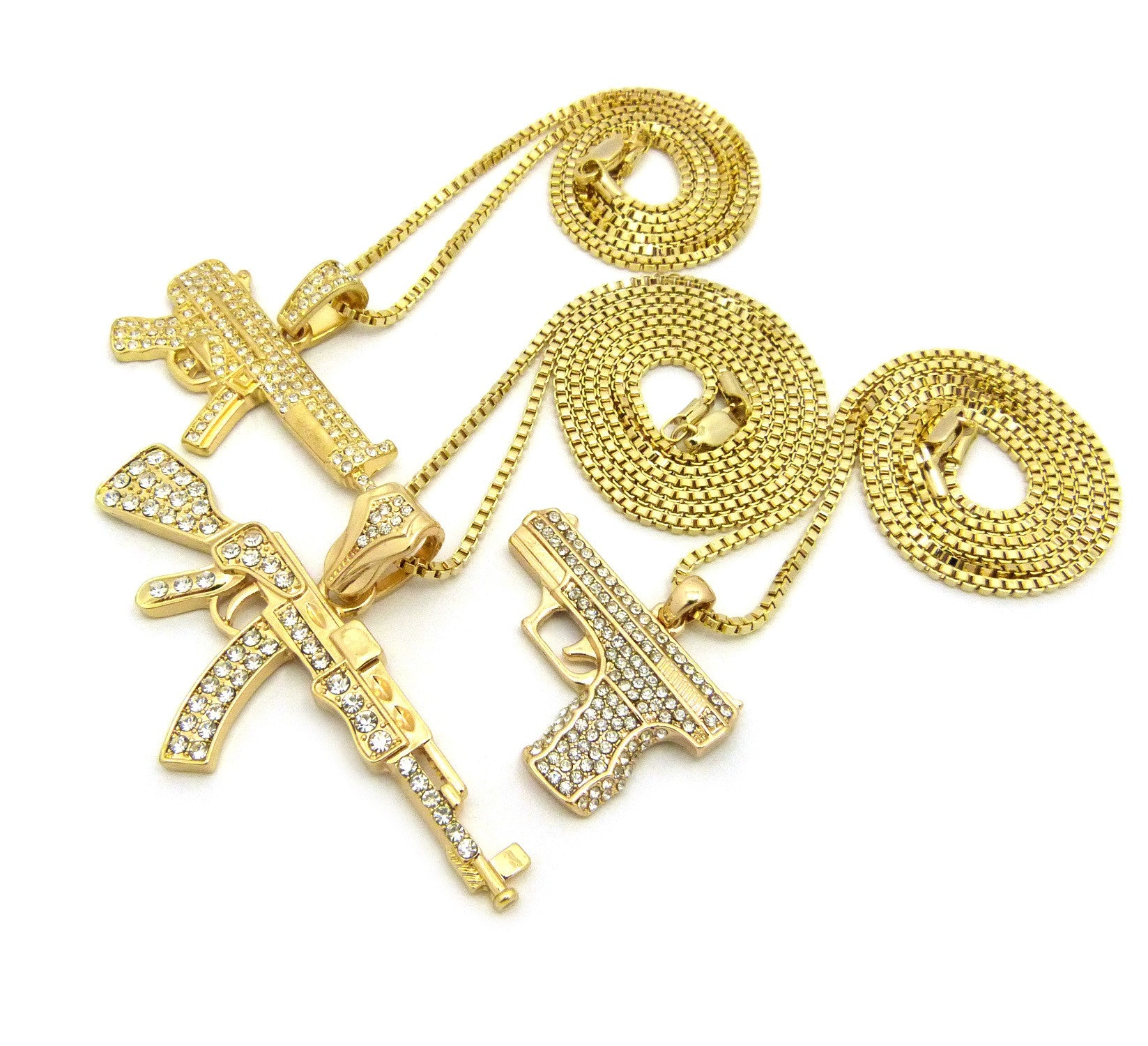 14k Gold Plated 3 Chain Gun Combo On 24 30 36 Inch Box Chain