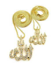 14K Gold Plated 3 Chain Set: Iced Out Big Allah Lil Allah Symbol 24 And 30 Inch Box Chain