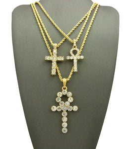 14k Gold Plated 3 Chain Set Big Ank Lil Ank And Cross