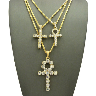 14k Gold Plated 3 Chain Set: Iced Out Big Ank And Lil Ank And Cross On 24 30 and 36 inch Box Chain