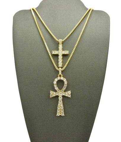 14K Gold Plated Iced Out Cross And Ank 24 And 30 Inch Box Chain